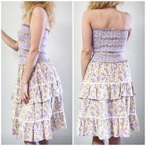 Free People Dresses - Free People Purple & Yellow Strapless Sress